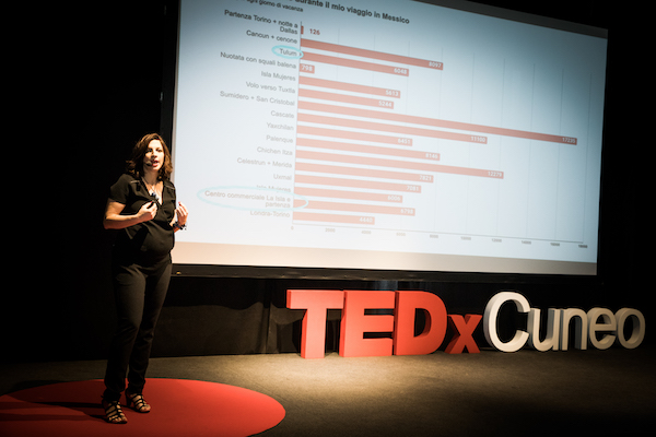 Donata Columbro sul palco di TEDxCuneo, dietro una slide con un grafico a barre